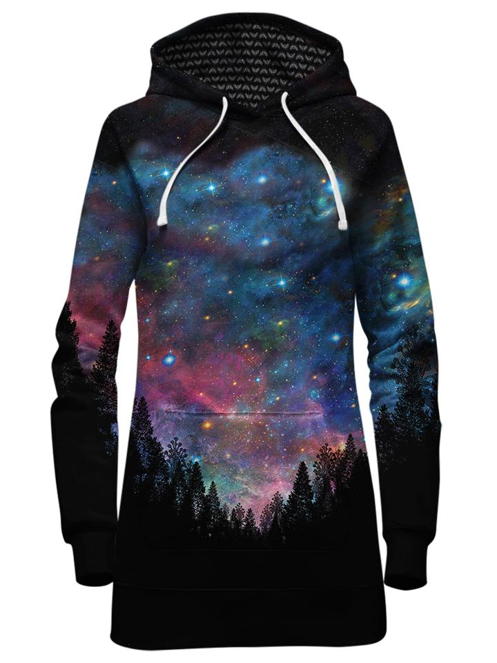 Beautiful Galaxy Forest Hoodie Dress