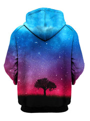 Tree Silhouette In Space Pullover Hoodie Back View