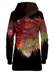 Red And Gold Galaxy Hoodie Dress Back View