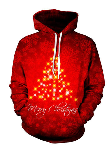 Beautiful Red Sparkly Christmas Tree Pullover Hoodie Front View