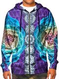 Model In Trippy Colorful Chakra Zip Up Hoodie