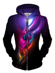 Beautiful Purple With Trippy Design Women Zip Up Hoodie