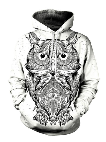 Trippy Black And White Owl Pullover Hoodie Front View