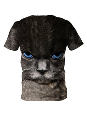 Up close blue cat eyes tee shirt back view