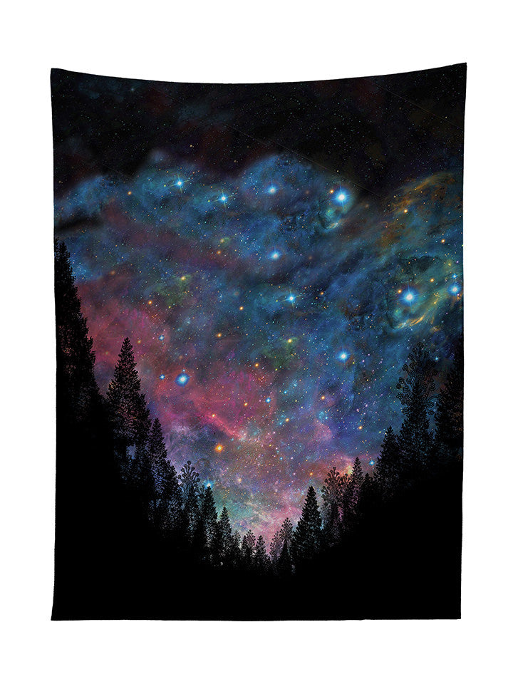 Galactic Valley Tapestry. Space Forest Tapestry Prints   Galactic Valley   Trippy House
