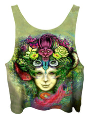 All over print psychedelic visionary art cropped top by Gratefully Dyed Apparel back view.