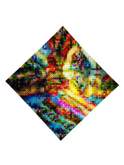 Trippy Gratefully Dyed Apparel rainbow blotter art bandana flat view.