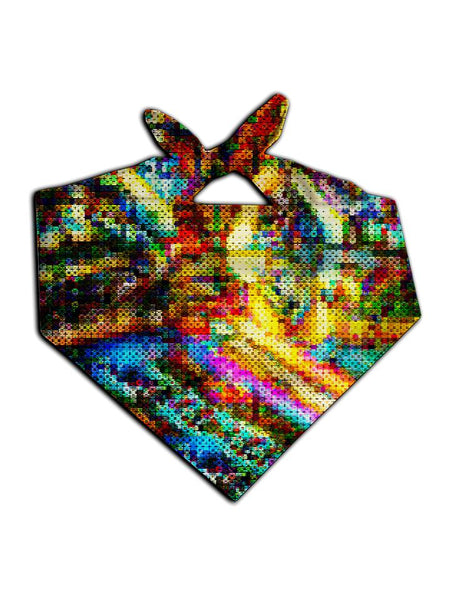 All over print rainbow blotter art bandana by GratefullyDyed Apparel tied neck scarf view.