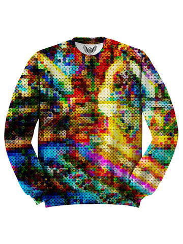 All over print rainbow blotter art unisex sweater by GratefullyDyed Apparel front view.