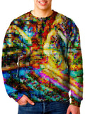 Model wearing Gratefully Dyed Apparel rainbow blotter art unisex sweater.