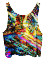 All over print psychedelic lsd culture cropped top by Gratefully Dyed Apparel back view.