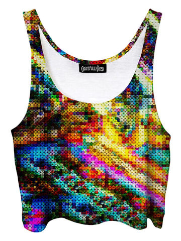 Trippy front view of GratefullyDyed Apparel rainbow blotter art crop top.