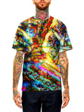 Model wearing GratefullyDyed apparel psychedelic blotter art unisex t-shirt.