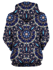 Rear of women's all over print blue, purple & orange psychedelic mandala hoody.