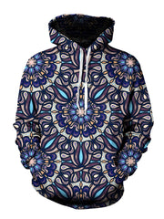 Men's blue, purple & orange psychedelic mandala pullover hoodie front view.
