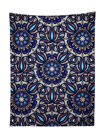Vertical hanging view of all over print blue & white mandala tapestry by GratefullyDyed Apparel.