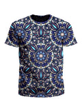Men's blue, purple & white mandala unisex t-shirt front view.