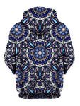 Rear of psychedelic blue, purple & orange mandala zip-up hoody.
