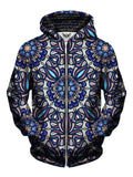 Men's blue, purple & orange psychedelic mandala zip-up hoodie front view.