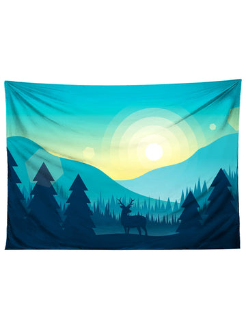 Horizontal hanging view of all over print blue mountain tapestry by GratefullyDyed Apparel.