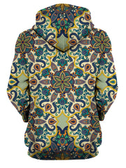 Rear of women's all over print purple, orange, blue & yellow psychedelic mandala hoody.