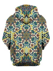 Back view of all over print psychedelic sacred geometry hoody by Gratefully Dyed Apparel.