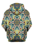 Rear of yellow, purple, blue & orange pastel mandala zip-up hoody.