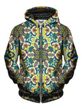 Men's yellow, purple, blue & orange pastel mandala zip-up hoodie front view.
