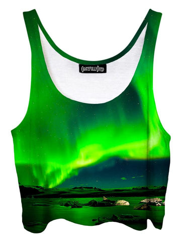 Trippy front view of GratefullyDyed Apparel green northern lights galaxy crop top.