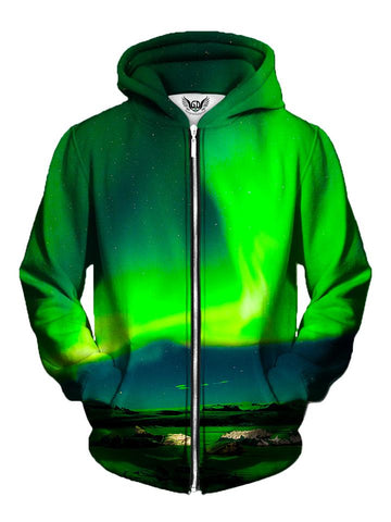 Men's green northern lights galaxy zip-up hoodie front view.