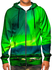 Model wearing GratefullyDyed Apparel green northern lights galaxy zip-up hoodie.