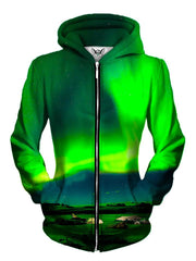 Front view of women's aurora borealis zip up hoody by Gratefully Dyed Apparel.