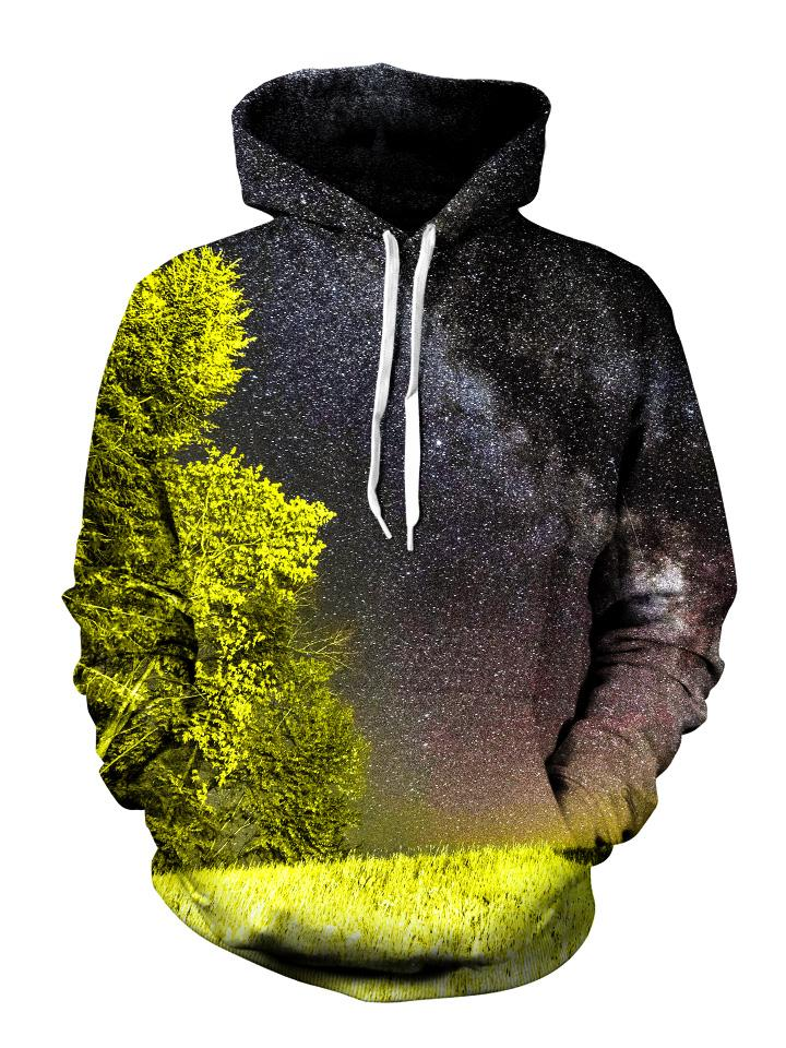 Men's yellow & black forest galaxy pullover hoodie front view.