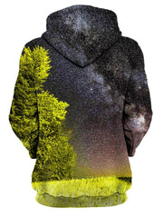 Rear of women's yellow & black space trees all over print hoody.
