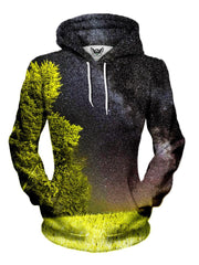 Women's front view of trippy forest galaxy for pullover hoodie.