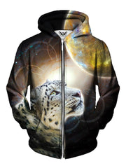 Trippy Leopard In Space Zip Up Hoodie Front View