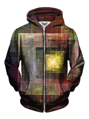 Trippy Square Print Earth Colors Zip Up Hoodie