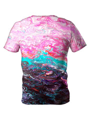 Back view of all over print psychedelic marbling t shirt by Gratefully Dyed Apparel.