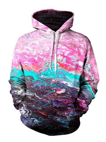 Men's pink, teal & black marbled paint pullover hoodie front view.