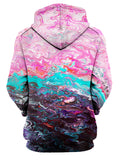 Rear of women's pink, teal & black marbled paint hoody.
