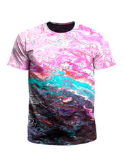 Men's pink, teal & black marble painting unisex t-shirt front view.