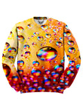All over print red, orange & rainbow bubbles unisex sweater by GratefullyDyed Apparel front view.