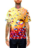 Model wearing GratefullyDyed Apparel rainbow bubbles unisex t-shirt.