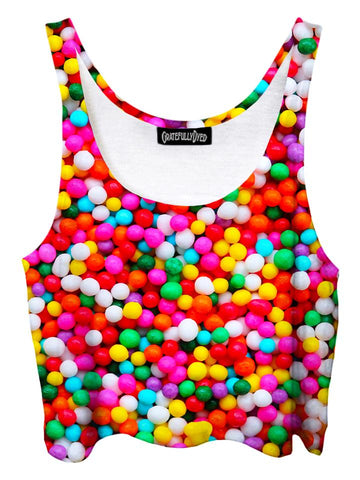 Trippy front view of GratefullyDyed Apparel rainbow candy sprinkles crop top.