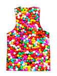 Psychedelic all over print birthday foodie tank by GratefullyDyed Apparel back view.