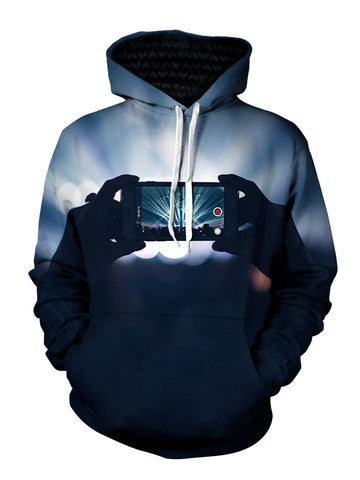 Men's gray & black smartphone capturing concert pullover hoodie front view.
