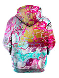 Back view of same psychedelic marbling all over print hoody by Gratefully Dyed Apparel.