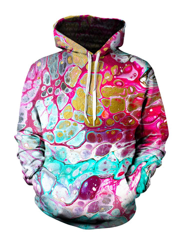 Men's pink, teal & gold marbled paint pullover hoodie front view.
