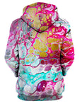 Rear of women's pink, teal & gold marbled paint hoody.