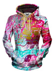 Women's front view of trippy marble painting pullover hoodie.